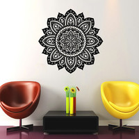 Mandala Wall Decal Namaste Flower Mandala Indian Lotus Yoga Wall Decals Vinyl Sticker Interior Home Decor Art Wall Decor Bedroom SV6023