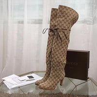 GUCCI fashion Women Heels Shoes Boots 2019 knight boot Winter autumn beige best quality