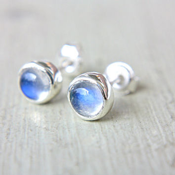 Rainbow Moonstone Studs Sterling Silver Little Tiny Blue Moonstone Earrings 6mm Earrings Studs