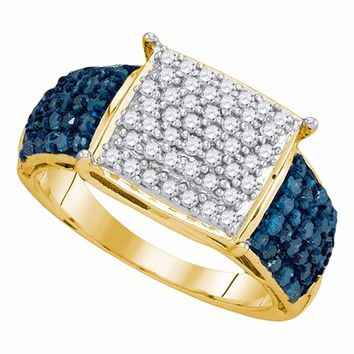 10kt Yellow Gold Womens Round Blue Color Enhanced Diamond Rectangle Cluster Ring 1.00 Cttw
