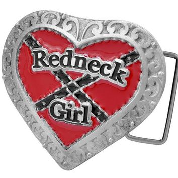 Buckle Rage Adult Womens Redneck Girl Heart Cowgirl Rebel Flag Belt Buckle Red