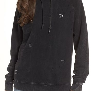 Obey Arlo Distressed Safety Pin Hoodie | Nordstrom