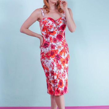 Tiger Lilly Floral Pinup Wiggle Dress