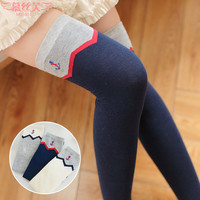 Anchor Embroidered Thigh High Socks