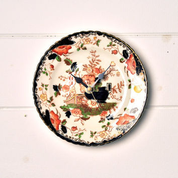 Black and Orange Vintage Bone China Tea Plate Silent Wall Clock