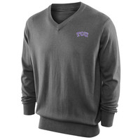 TCU Horned Frogs Box Seat V-Neck Sweater - Gray