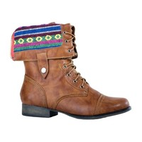 HerStyle Women's Crispin Fold-Down Liner Manmade Combat Boot