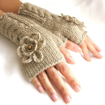 Fingerless Gloves, Wool Mittens, Arm Warmers with cable pattern,flowers and wood beads  in smoky beige
