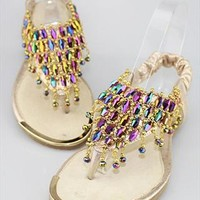 Multicolor Beads Mesh Flat Sandals Gold SCVV061605 from topsales