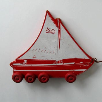 Antique Wood Pull Toy, Sail boat, Beach Cottage Decor, Nursery Decor, circa 1930's, gift idea