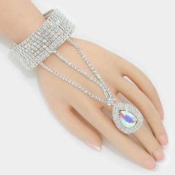 """ Angelic Iridescent""  Rhinestone Bracelet & Iridescent AB Teardrop Crystal Ring Combo On Silver Tone"