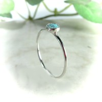Stacking Ring Silver MMS03 Fire Opal Gemstone