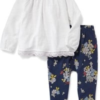 2-Piece Embroidered-Hem Top and Pants Set for Toddler | Old Navy