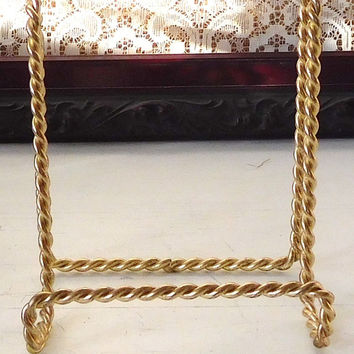Brass Book Stand Brass Plate Stand Metal Work Cookbook Stand Bible Stand Vintage