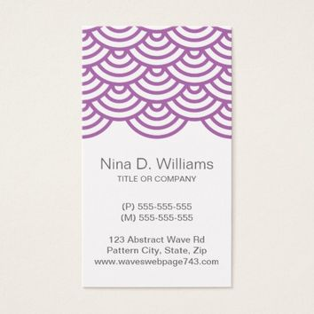 Vertical trendy plum purple Japanese wave pattern Business Card