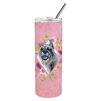 Schnauzer Pink Flowers Double Walled Stainless Steel 20 oz Skinny Tumbler CK4179TBL20