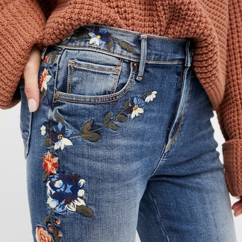 Free People Amelia Embroidered Crop Jeans