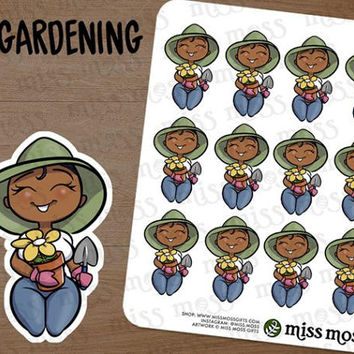 Brown Skin Gardening Gardener Plus Size Curvy Planner Stickers, African American Black - Erin Condren, Happy Planner, Filofax, Decorative