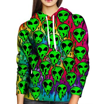 Trippy Green Martian Womens Hoodie