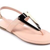 Bamboo New Casual Side Buckle T-strap Womens Gladiator Sandals Flats Shoes Size New Without Box (8.5, Nude)