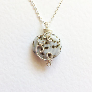 Wire wrapped Pendant,  Porcelain Bead. Wire wrapped handmade Necklace, non tarnish silver plated wire cream white brown