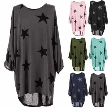 Plus Size Womens Star Print Batwing Lagenlook Tunic Dress Top Loose Baggy Blouse