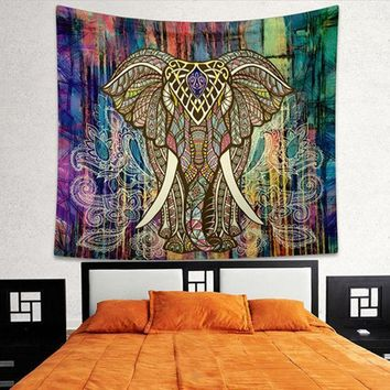 Indian Elephant Mandala Tapestry Bright Color Bohemia Hanging Printed Decorative Wall Tapestries Exotic Bedroom Living Rome T0.4
