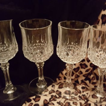 Four Cristal D' Arques Longchamp Stem Wine, Cordial Glasses 6.5 Inches Tall