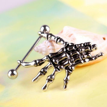 Sexy Punk Skeleton Skull H  Shield Nipple Bar Navel Belly Button Rings Belly Body Piercing SM6