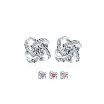 Women Sterling Silver Earrings Stud with CZ Stone