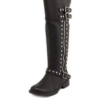 Studded Side-Zip Moto Boot