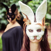 Follow the White Rabbit Masquerade Mask - Handmade with new and  Recycled Materials