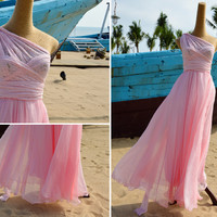 Bridesmaid Silk Chiffon Infinity Wedding Dress - Pink