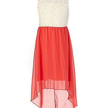 Ruby Rox 7-16 Daisy-Crocheted-Lace-Bodice Chiffon-Skirted Dress | Dillards.com