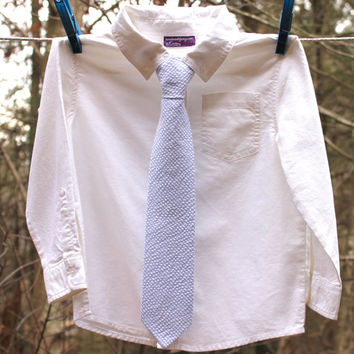 Boy's Tie - Light Blue Seersucker - any size necktie
