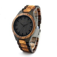 Round Vintage Zebra Wood Case Men Watch With Ebony Bamboo Wood Face With Zebra Bamboo Wood Strap Japanese movement