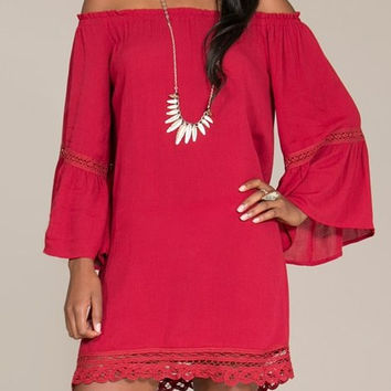 Eliza Bella for Flying Tomato Burgandy Boho Hippie Off Shoulder Bell Sleeve Dres