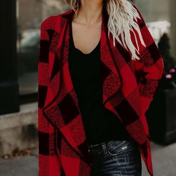 Red Plaid Lapel Open Front Long Sleeve Coat