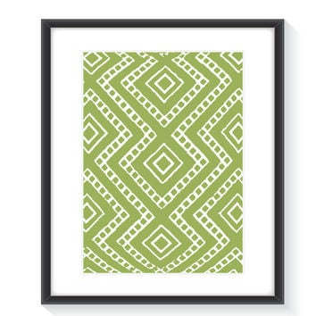 Tribal Wall Print - Printable Wall Art - Digital Wall Print - Home Decor - Lime Green