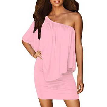 Multiple Dressing Flounced Pink Mini Dress