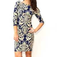 Black & Royal Blue Cap-Sleeve Bodycon Dress