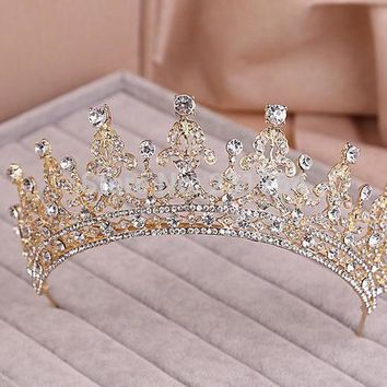 DCCKHY9 Red/Clear Wedding Bridal Crystal Tiara Crowns Princess Queen Pageant Prom Rhinestone Veil Tiara Headband Wedding Hair Accessory