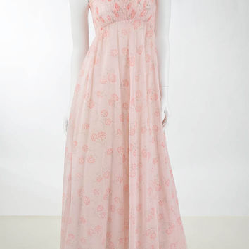 70's Bohemian Pink Floral Empire Maxi Dress