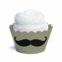 Dress My Cupcake Mini Cupcake Wrappers, Mustache, Kraft Brown, Set of 18