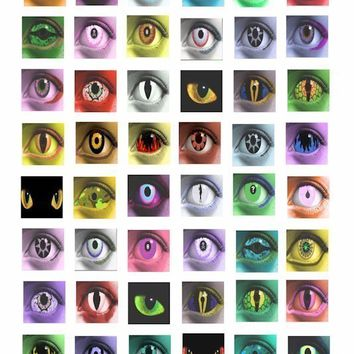 human creature evil eyes 1 inch square images digital collage sheet graphics printables clip art contact lense images eye clipart