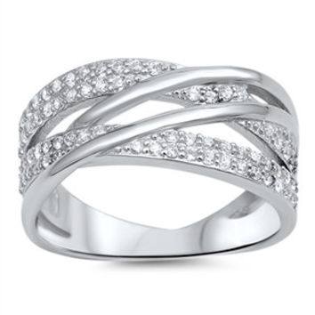 Sterling Silver CZ Simulated Diamond Infinity Lines 9MM Ring