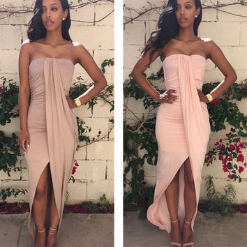 Club Sexy Backless Bandages Dress Prom Dress One Piece Dress [9324607748]
