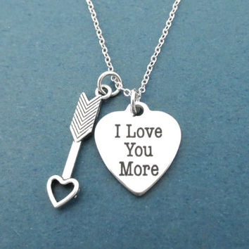 I Love You More, Cupid's arrow, Heart, Silver, Necklace, Cupid, Arrow, Love, Jewelry, Birthday, Lovers, Friendship, Gift, Jewelry