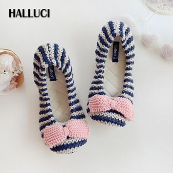 HALLUCI Stripe knitted house flats shoes woman cute bowknot ballet sapatos mulher slip-on soft indoor home shoes autumn