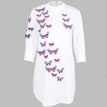 2017 spring women plus size new fashion white shirts cotton blouse 3d butterfly embroidered shirt female tops